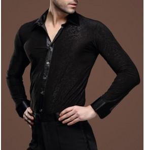 Men's printed pattern latin dance shirt black