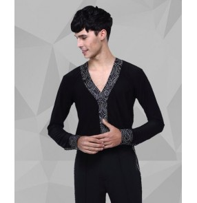Men's printed v neck collar latin dance shirt long sleeves