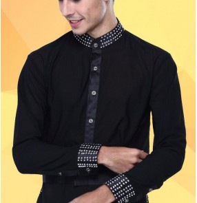 Men's rhinestone collar and sleeves cuff stand collar latin dance shirt top