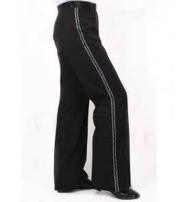 Men's rhinestone ribbon side latin dance pants ballroom dance pants