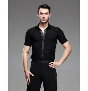 Men's Short sleeves Latin Dance Shirts
