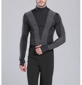 Men' s turtle neck latin dance shirt top black