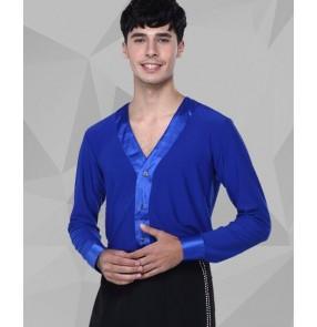 Men's v neck long sleeves latin shirt  wine red royal blue black