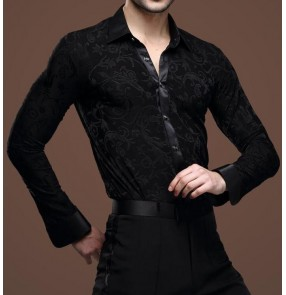 Men's velvet modern ballroom latin dance shirt turn down collar