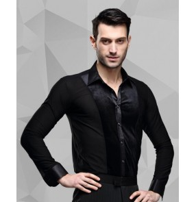 Men's velvet patchwork latin dance shirt ballroom dancing top black