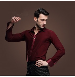 Men's wine red turn down collar plain color  long sleeves latin dance shirt