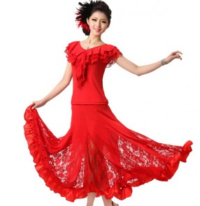 Modern Dance two piece Dress Women's Ballroom Dance Dresses salsa Dancing Dress Training Waltz/Tango Dres