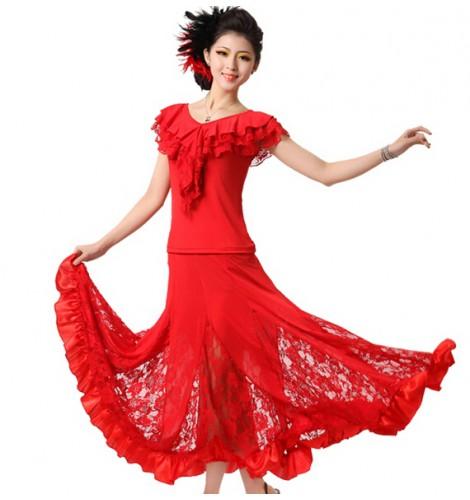 396b7cc64d552 Modern Dance two piece Dress Women's Ballroom Dance Dresses ...