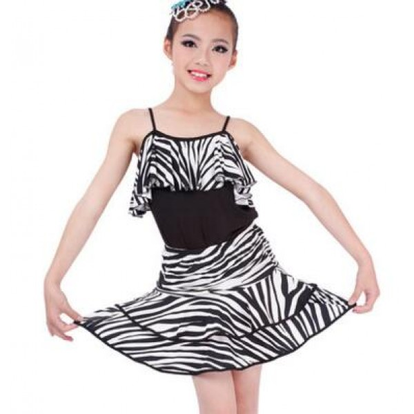 e257bb3df1 Multi rainbow colored floral black and white zebra printed colored girls kids  child children growth baby latin salsa cha cha rumba samba dance dresses  split ...