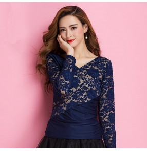 Navy blue v neck lace patchwork fashion sexy women's long sleeves competition performance ballroom latin salsa dance tops blouses shirts