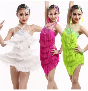 Neon green fuchsia black white gold hot  pink white fringes rhinestones backless  growth girls kids child children toddlers competition professional latin salsa cha cha dance dresses