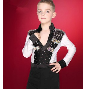 Neon green fuchsia hot pink black and white rhinestones competition boys kids child children toddlers v neck long sleeves leotard latin ballroom waltz dance pants