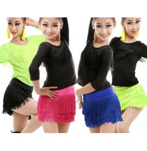 Neon green fuchsia royal blue black  patchwork split set fringes long sleeves girls kids child children growth toddlers practice competition professional latin salsa cha cha rumba samba dance dresses tops and skirts