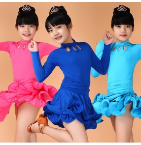 Neon green fuchsia turquoise royal blue yellow black long sleeves girls kids child children toddlers practice competition gymnastics ruffles skirts latin ballroom dance dresses with inside shorts