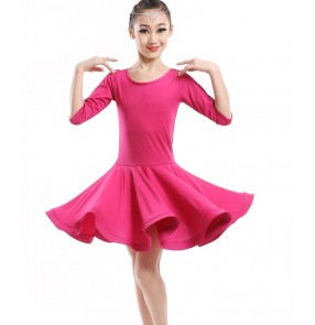 Neon green fuchsia yellow colored girls kids child children short sleeves round neck competition exercises practice stage performance latin dance dresses