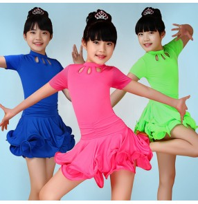 Neon green royal blue fuchsia black red colored girls kids child toddlers children Short sleeves competition practice gymnastics latin ballroom dance dresses with side shorts