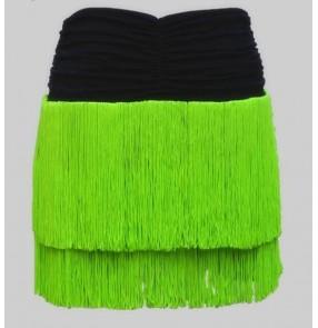 Neon green violet red fuchsia black  Women's girls tassels layers latin dance samba dance salsa chacha skirts with shorts inside