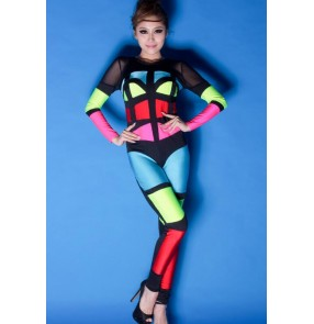 Neon rainbow green fuchsia blue red  black patchwork color multi colorful colored womens women's ladies female long sleeves fashionable  jazz dj ds sexy singer dance costumes  jumpsuit bodysuit catsuits
