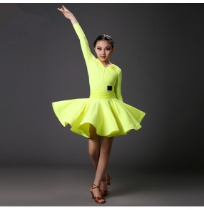 Neon yellow fuchsia orange colored Girls kids child children competition professional long sleeves v neck latin dance dresses salsa samba dresses