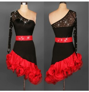 New Latin salsa tango Cha cha Dress Ballroom Dance Dress S-2XL black and red