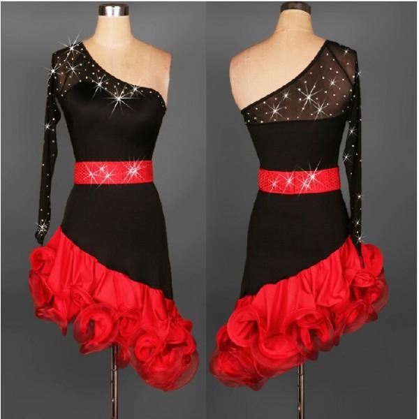 Christmas wedding dress xxl - Salsa Tango Cha Cha Dress Ballroom Dance Dress S 2xl Black And Red