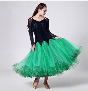 One piece long sleeves long length modern Ballroom dancing dress