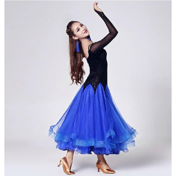 481e29969 One piece long sleeves long length modern Ballroom dancing dress
