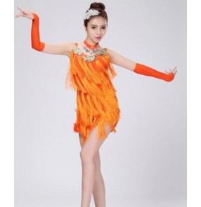 Orange colored fringes girls kids child children toddlers growth competition latin salsa cha cha rumba samba dance dresses with gloves