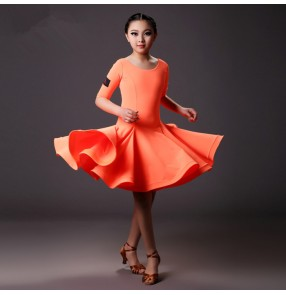 Orange neon yellow colored Girls kids child children baby short sleeves swing hem skirt competition latin dance dresses samba salsa cha cha dresses