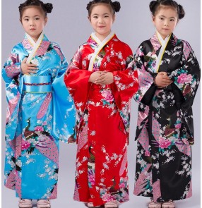 Pink black royal blue japanese Girls kids children baby turquoise royal blue modern dance party dresses cos play stage performance folk dance kimono