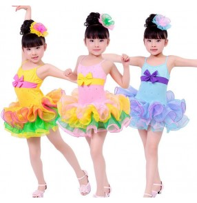 pink Blue yellow rainbow colored sleeveless strap backless girls child children kids toddlers leotard  practice gymnastics ruffles skirt latin dance dresses costumes