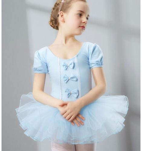 Pink Fuchsia Purple Violet Light Blue Colored Girls Kids Child Children Baby Toddlers Gymnastics Practice Tutu Skirt Short Sleeves Ballet Dance Dresses