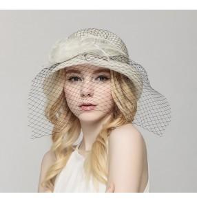 Pink Ivory Kentucky Derby Straw Flower Race Party Church Fasinators Sun Hat