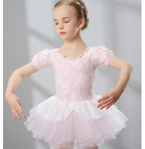 Pink lace patchwork short sleeves practice gymnastics toddlers child children kids baby competition leotard ballet tutu skirt  dance dresses