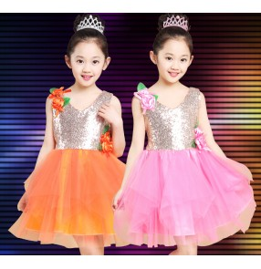 Pink orange gold Girls child children kids baby paillette sequined sleeveless modern dance stage performance princess latin dance jazz dance dresses costumes