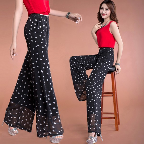 Polka dot white and black colored chiffon material casual ...