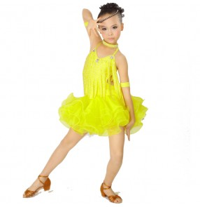 Polyester Budsilk Sleeveless Latin Dance Dress Ballroom Dance Dress Latin Girls