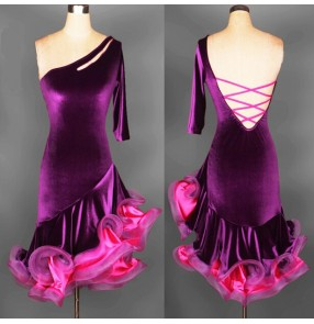 professional Latin dance skirt adult performance tassel dance wear competition clothing velvet ballroom dance dress