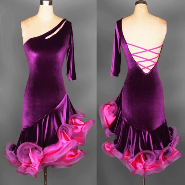 ae8b6d882808 professional Latin dance skirt adult performance tassel dance wear  competition clothing velvet ballroom dance dress