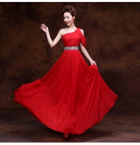 Purple red champagne Women's lady one shoulder A-line long length Evening dress wedding party bridal dress