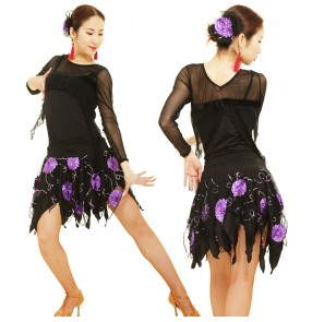 Purple Sequin Latin dance clothes