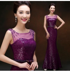 Purple violet red gold yellow sequins beaded double neck women's fashion sexy see through back and front mermaid long length wedding evening party gown vestidos dresses