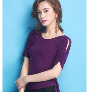 Purple violet short sleeves round neck draw string sleeves competition performance professional latin ballroom tango flamenco waltz dancing tops blouses