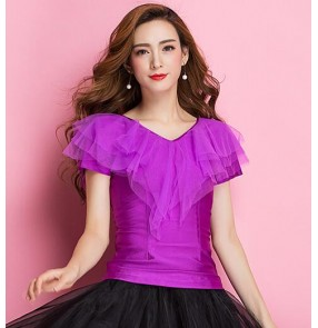 Purple violet short sleeves ruffles neck spandex competition performance ballroom latin cha cha dance tops blouses