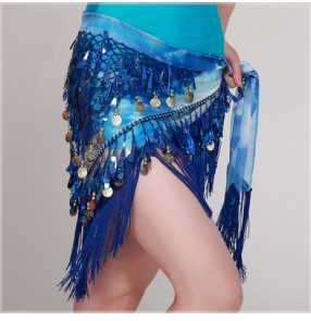 Purple violet yellow orange green orange hot pink red royal blue turquoise metal coins fringes triangle women's belly dance latin dance performance hip scarf skirts