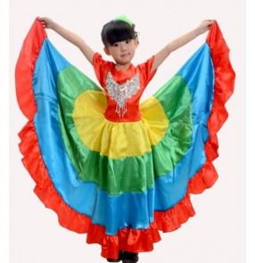 Rainbow colored big swing skirted girls kids child children toddlers growth modern dance stage performance Folk dance spanish dance Flamenco bull dancing dresses costumes