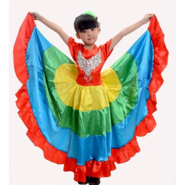 Childrens Stage Performance Clothing Spanish Bullfighting Skirt Big Dance Skirt Girl Big Swing Skirt Opening Sance Childrens Home