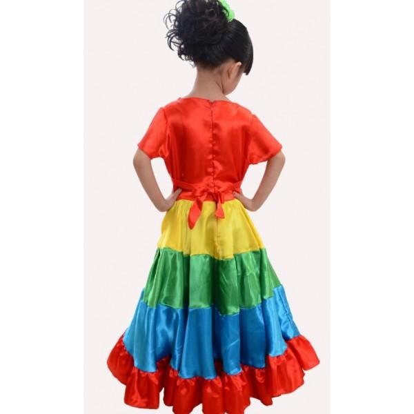 Rainbow Colored Big Swing Skirted Girls Kids Child