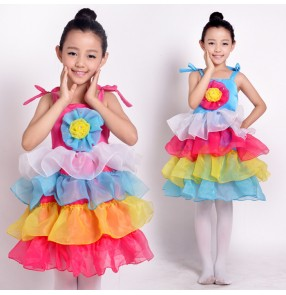 Rainbow colored multi colored strap layers princess party dance chiffon material girls kids child children toddler growth modern dance stage performance dj ds dance costumes dresses
