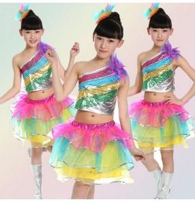 Rainbow colored paillette girls kids child children toddlers jazz one shoulder split set modern dance stage performance dance dresses costumes